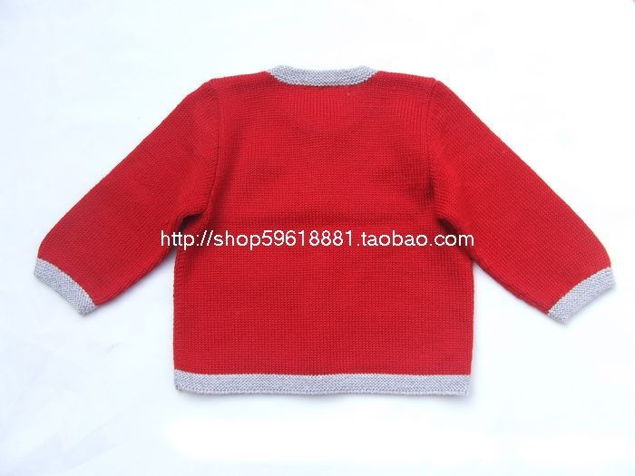 Hand Knitted Wool Cardigan Sweater for Baby Girl 6 12 months red ...