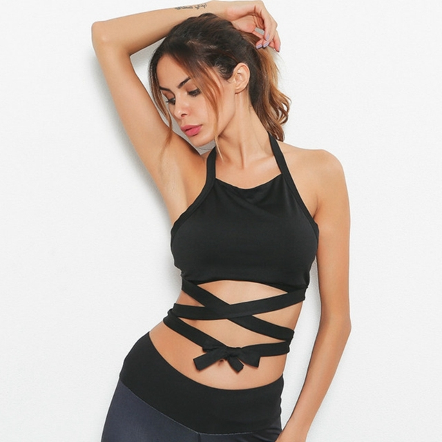 f78fd6e555d799 PENERAN Unique Sexy Sports Bras Women Fitness Sports Crop Tops Straps  Running Yoga Tank Female Backless Gym Workout Bra Black M