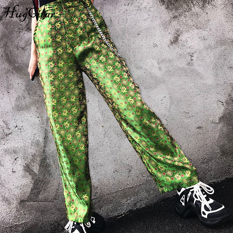 Hugcitar high waist embroidery   wide     leg     pants   2019 summer women fashion chains casual streetwear club female trousers