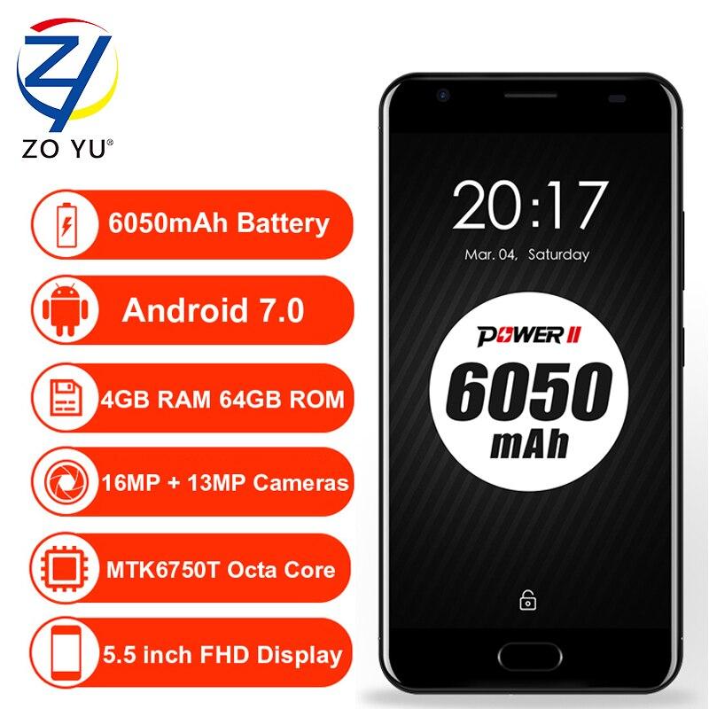 bilder für Ulefone Stromversorgung 2 smartphone MTK6750T 4G Android 7.0 Handy 4 GB + 64 GB 16.0MP Octa-core 6050 mAh 5,5 HD Touch ID Zelle telefon