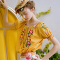 ЛИНЕТТ CHINOISERIE Желтый вышивка кисточкой лук с коротким рукавом slim с коротким дизайн верхней рубашки