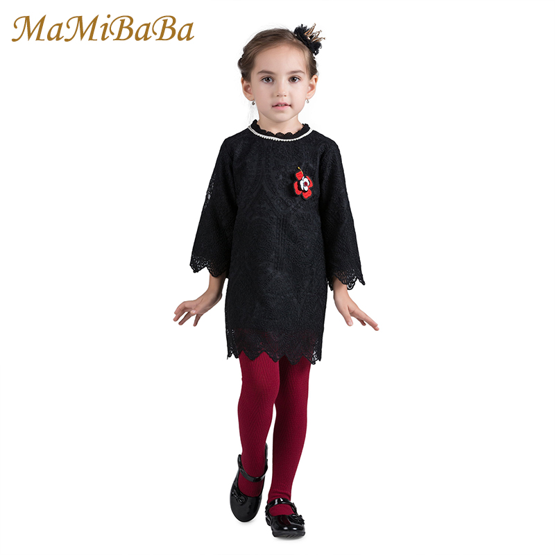 Baby Girls Dresses 2018 New Spring Fashion Solid Cotton Lace Knee-lenght Dress For 3-10 Years Children Girl Sweet Clothing Ds486