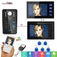 SmartYIBA беспроводной видео телефон двери с 2 шт. 7 дюймовый монитор RFID/пульт дистанционного управления/пароль, чтобы открыть дверь видео домофо