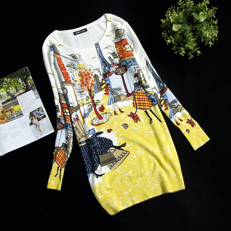New Women's Print Pullover Sweater Long Design Sweater Dress Plus Size Loose Basic Blouse High Quality