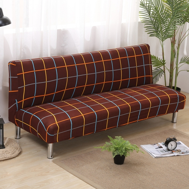 Elegant Brown Covering For Sofa Bed Universal Stretch Armless Couch Sofa Slipcovers Removable  Machine Washable Covers Home