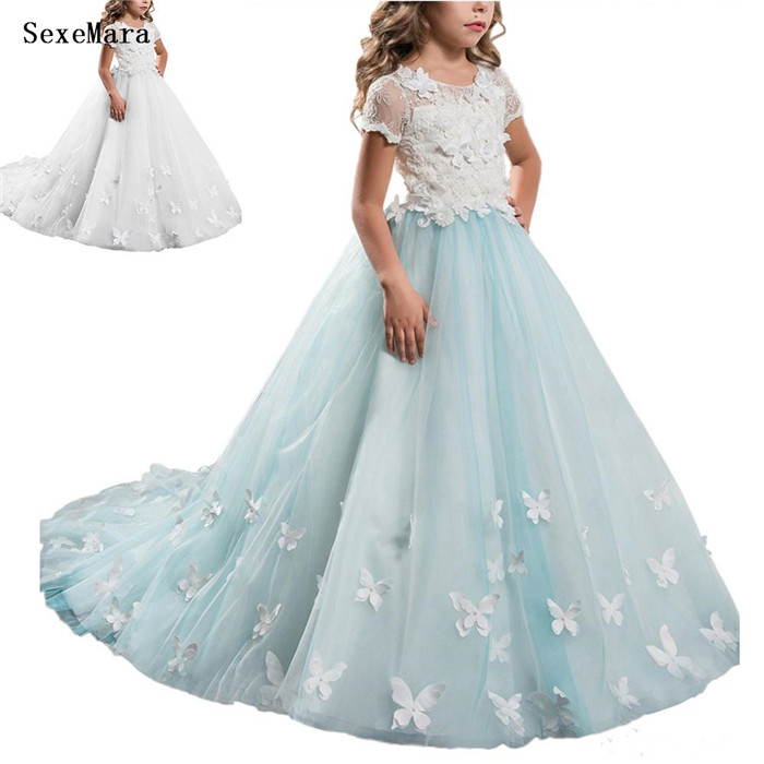High Quality Sky Blue Puffy Tulle Flower Girls Dresses for Wedding White Lace 3D Butterflies Girls Birthday Dress Pageant Gown