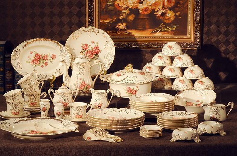 Free shipping 72-piece European luxury handmade embossed gilt palace bone china dinnerware set pink flower with Coffee Set