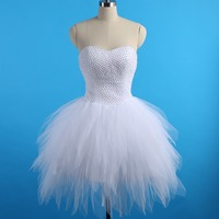 Romantic Short Wedding Dresses for Bride Vestido De Noiva Curto 2017 Beaded Tiered Tull Ball Gown Wedding Dress