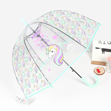 European Fashion Unicorn Transparent Umbrella Environmental Thickening Poe Bird Cage Lady Long Handle