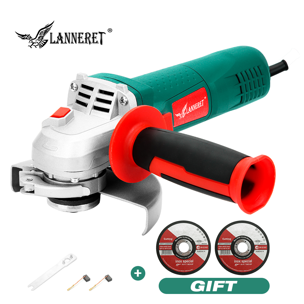 LANNERET Electric Angle Grinder 750W 125mm Disc Side Toolless Guard for Cutting Grinding Metal or Stone Works