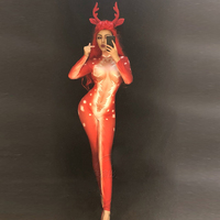 Christmas'S Day Cosplay Red Bodysuit Spandex Leggings Outfit Women Party Outfit Stage Nightclub Female Singer Dance Wear DL3427