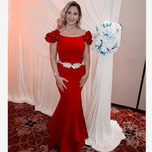 Women Red Mother Of The Bride Dresses With Silver Beading Waist Scoop Neck 2019 Mermaid Long Prom Dress Party Gown