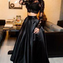 Весна, высокое качество, модный короткий топ с длинным рукавом+ длинная юбка, комплект из двух предметов, черный цветочный принт, женские комплекты