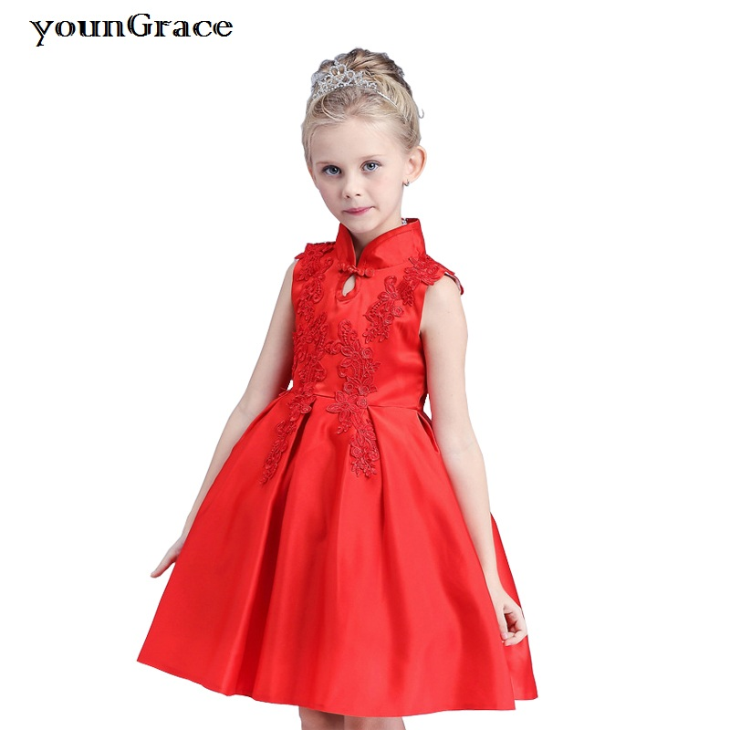 ActhInK New 2017 Girls Summer Red Embroidery Dress Chinese Style Dresses 2016 Brand Qipao Design Flower Girls Wedding Dress,C242 100 super cute little embroidery chinese embroidery handmade art design book