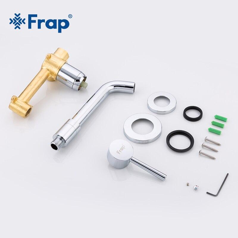 FRAP Wall Mounted Basin Faucet Brass Single Handle Mixer Tap Hot & Cold Bathroom Water Bath Matt Black Faucet Sink Y10050/-1