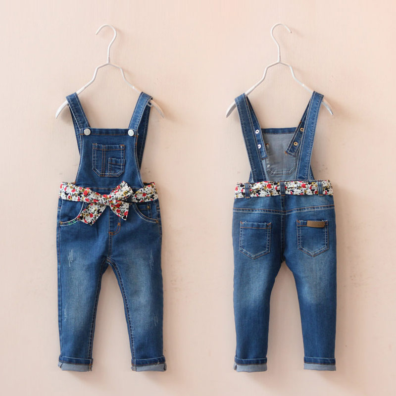 New Arrival Baby Girls Denim Overalls Jeans Girls Flower-belt Denim Jumpsuit Child Spring Autumn Long Pants High Quality Jeans колпачок airline avc 04 с защитным манжетом