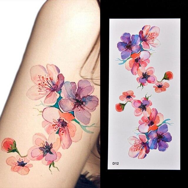 Diy Acuarela Mujeres Brazo Hombro Tatuaje Orchidea Brazo Temporal