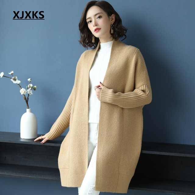 Xjxks Fashion Big Plus Size Cardigan Sweater Coat Fashion 2019 New