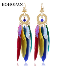 Bohopan Retro Bohemia Feather Drop Earring Women Ethnic Long Sequin Tassel Dangle Statement Earrings Indian Jewelry Accessories