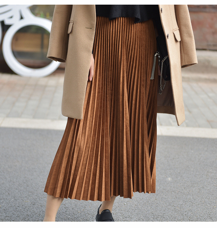 19 Two Layer Autumn Winter Women Suede Skirt Long Pleated Skirts Womens Saias Midi Faldas Vintage Women Midi Skirt 45