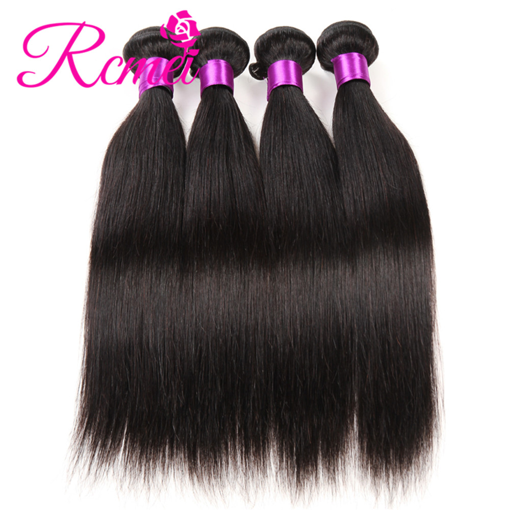Rcmei Brazilian Straight Weaves Bundles 4 Bundles/Lot Hot Sale Cheap Human Hair Weaveing 8-28 Inch Natural Black Extensions Weft