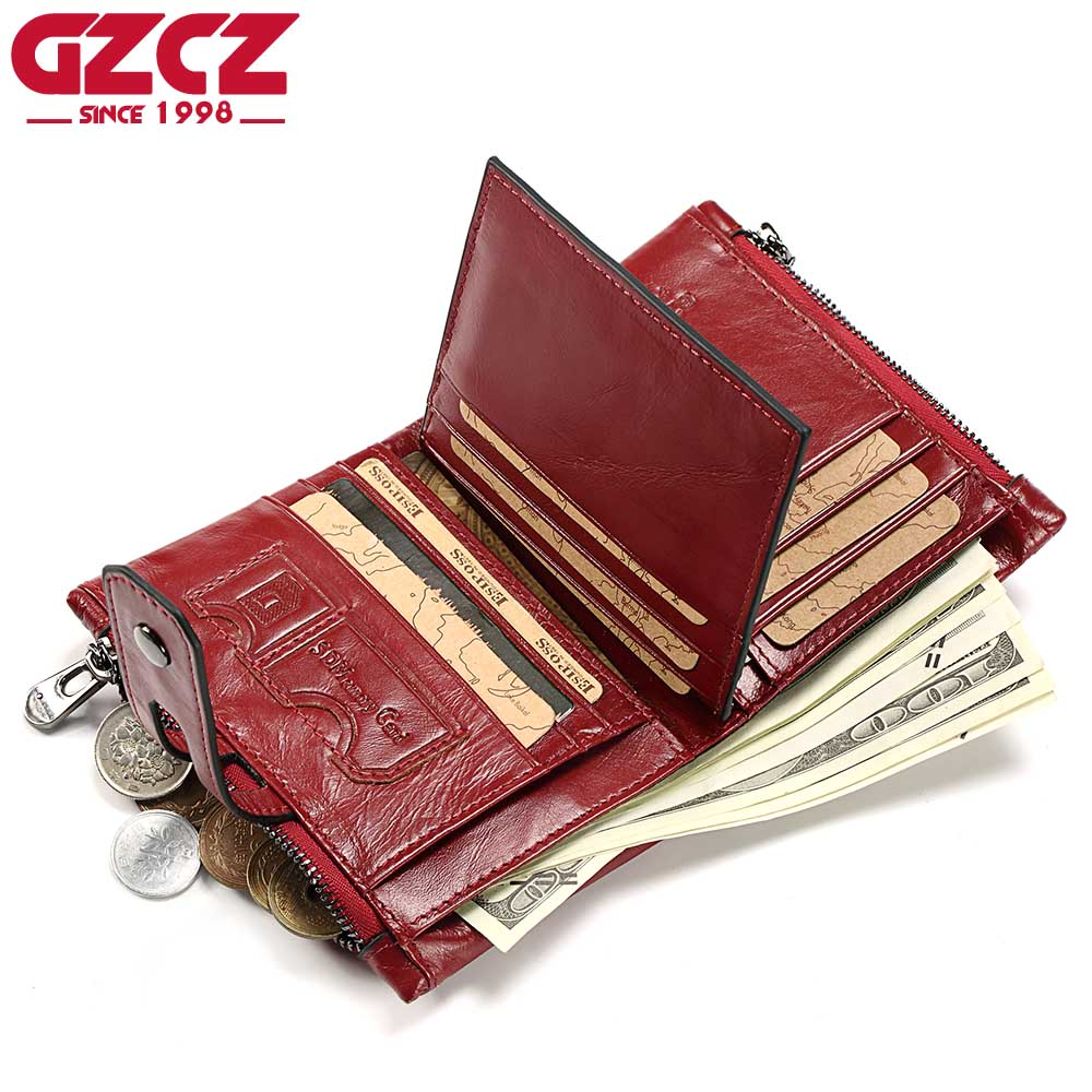 GZCZ Genuine Leather Women Wallet Female Fashion Mini Walet Card Holder Luxury Brand Woman Purse Zipper Design Ladies Vallet