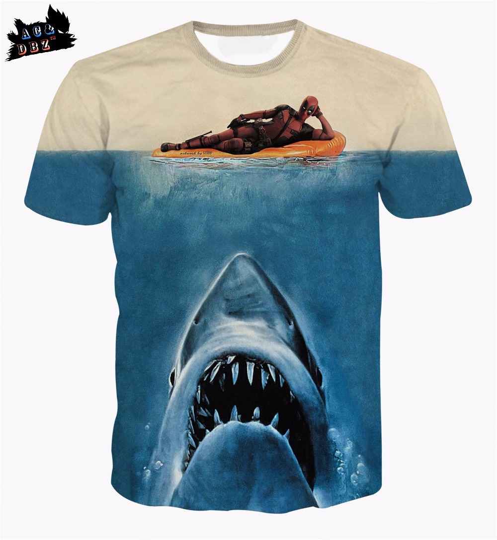 AC&DBZ 2018Newest Mens Womens T-Shirt Cartoon Character Deadpool Deep Sea Shark Cool 3dt shirt Summer Fashion Casual Tees