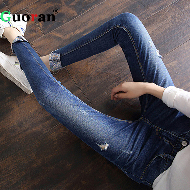 {Guoran} Ripped Basic Femme Jeans Pencil Pants 2017 Slim Skinny Women Denim Blue Trousers plus Size 26-32 Lady Pantalon Grey fashion jeans femme women pencil pants high waist jeans sexy slim elastic skinny pants trousers fit lady jeans plus size denim