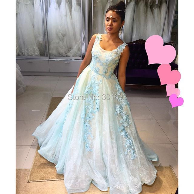 Oumeiya ONE393 Light Blue and Cream Two Color Formal Lace Evening ...
