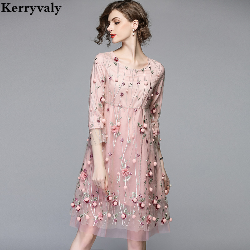 Retro Mesh Pink Floral Embroidered Dress Woman Dress 2019 Spring Summer Loose Vintage Dress Sukienki Damskie