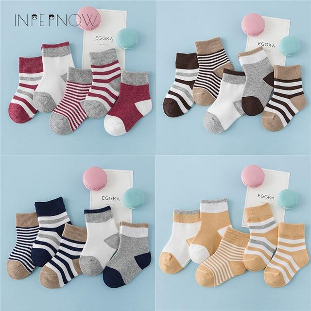 INPEPNOW 5 Pair/lot Baby Boy Striped Socks Soft Cotton Infant Socks Cute Cartoon Pattern Kids Socks Winter For Girl WZ-CZX53 2