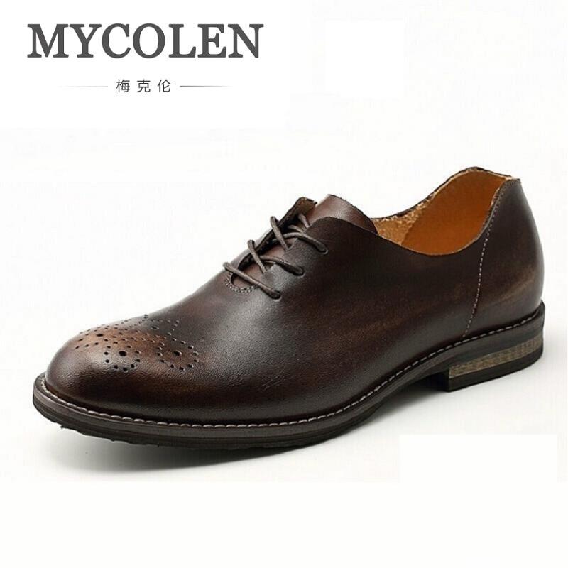 MYCOLEN Handmade Vintage Carved Oxford Shoes Men Genuine Leather Lace-Up Oxfords Men Dress Shoes For Business Wedding цены онлайн