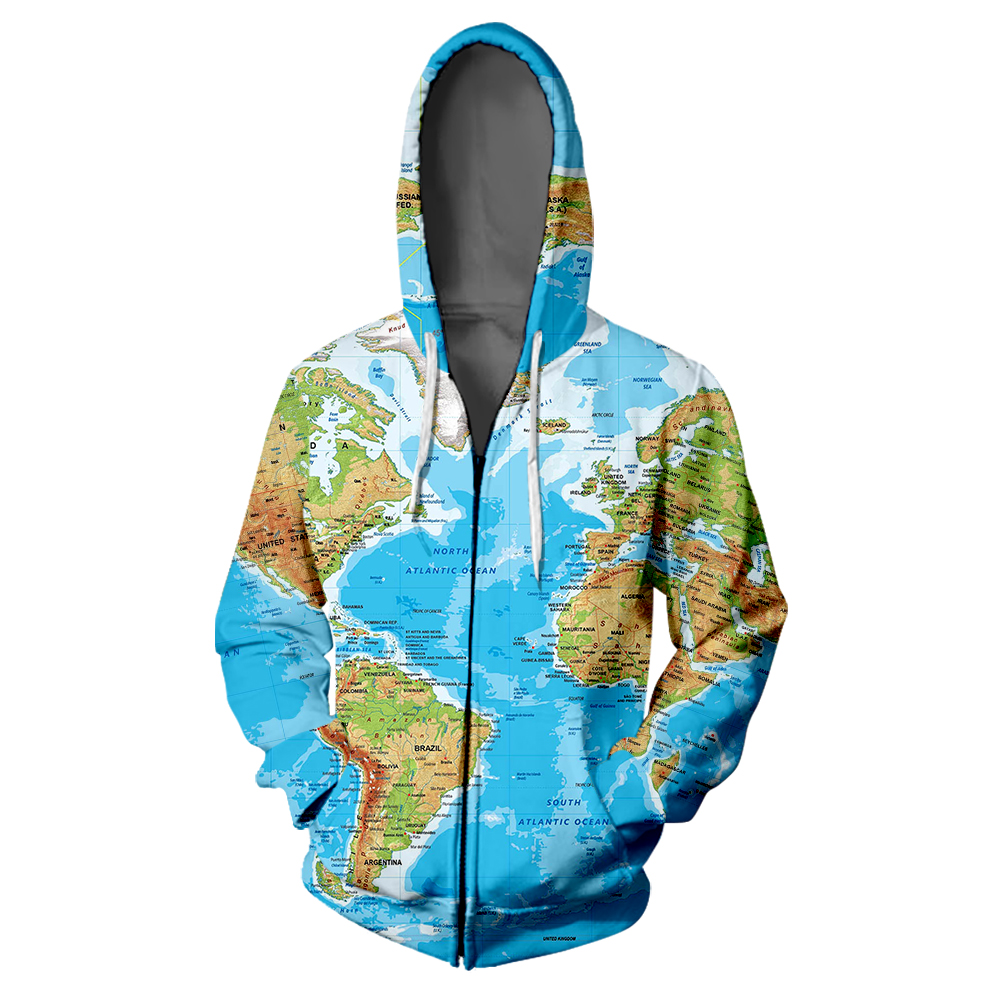 World Map 3D Zipper Hoodie Sweatshirt Hip Hop Funny Personalise Harajuku High Street Sweatshirts Sportswear Man