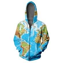 World Map 3D Zipper Hoodie Sweatshirt Hip Hop Funny Personalise Harajuku High Street Sweatshirts Sportswear Man