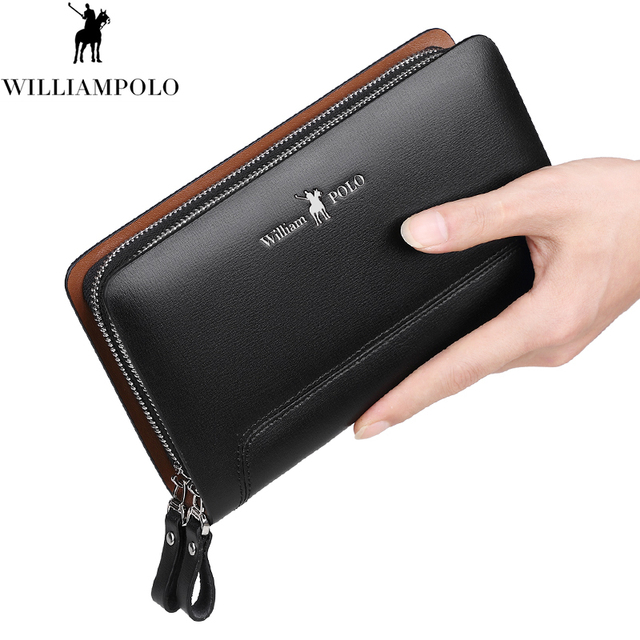 WILLIAMPOLO 100% Real Leather Clutch Bag Men Europe and American Style Fashion Black Clutch Bag PL188