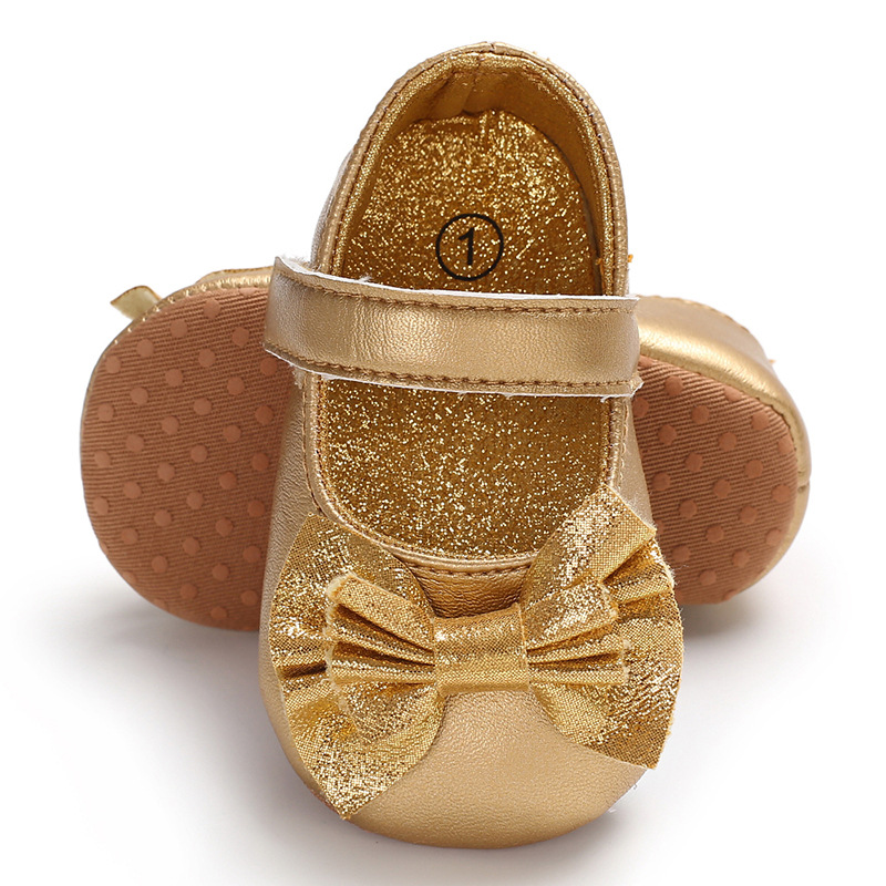 Newborn Baby Shoes First Walkers Cute Baby Girls Shoes Princess Shoes Gold Pink Butterfly Bow Baby Moccasins
