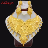 Adixyn 60cm/24inch Rope Chain/Earrings Jewelry Set For Women Girls Gold Color Elegant Ethiopian/African Wedding Accessories