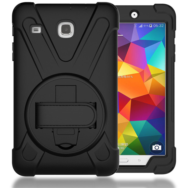 Case For Samsung Galaxy Tab E 8.0 T377 T377V Kids Safe Shockproof Heavy Duty Silicone Hard Cover kickstand design Wrist strap pannovo silicone shockproof fallproof dustproof case cover for samsung galaxy note 2 n7100 black