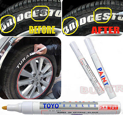 White Waterproof Rubber Permanent Paint Marker Pen Car Tyre Tread Environmental Tire Painting 8 Colors