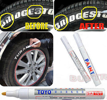 White Waterproof Rubber Permanent Paint Marker Pen Car Tyre Tread Environmental Tire Painting 8 colors недорого