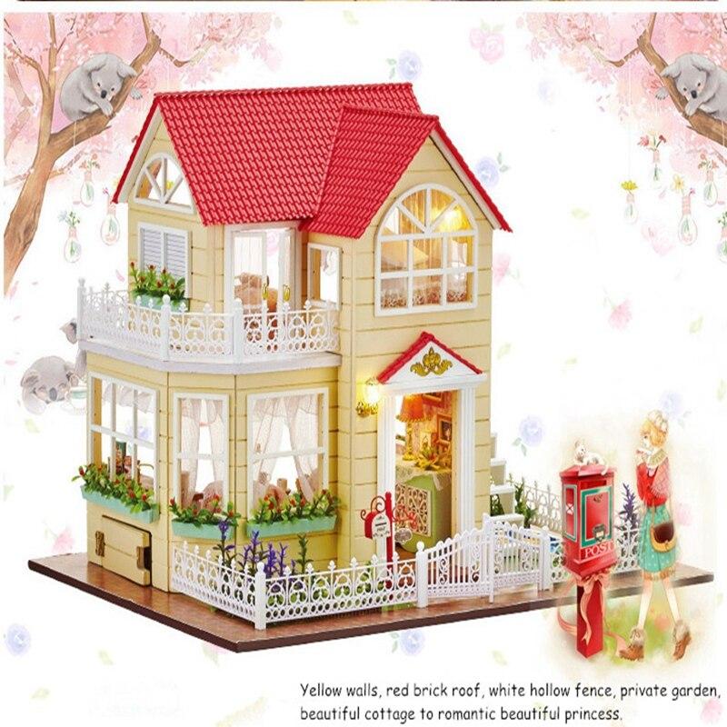 Bricolage Maison De Poupée Miniature Comprennent Les Meubles 3D Puzzle En Bois Modèle De Construction De Maison De Poupée Pour Cadeaux D'anniversaire Jouets Princesse Cottage