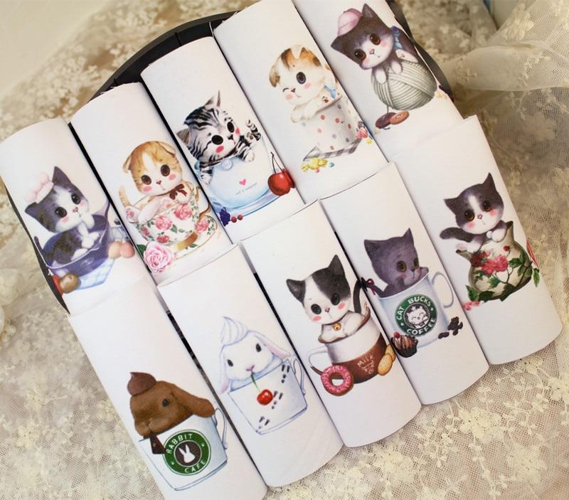 12*12cm Cup cat 100% cotton canvas fabric cloth positioning cloth handmade diy patchwork fabric digital printed cloth