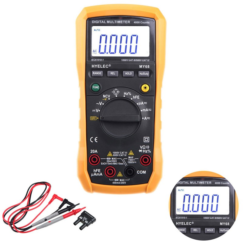 Digital Multimeter MY68 PEAKMETER 4000 Counts AC/DC Resistance Capacitance Frequency Duty cycle Tester