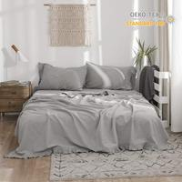 4pcs Linen Sheet Set Stone Washed Solid Color Flouncing Include Flat Sheet Fitted Sheet and Pilowcase