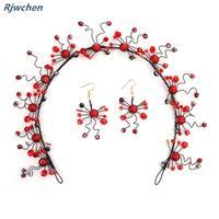 Chinese Wedding Red Headbands Earring Set Bridal Headbands Fashion Women Hair Band Simple Elegant Bride Accessories CH038