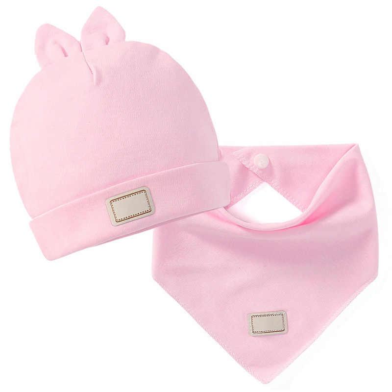 ทารกแรกเกิดโรงพยาบาลหมวกเด็กน่ารักหมวก Bibs สีทึบทารก Beanie Bib