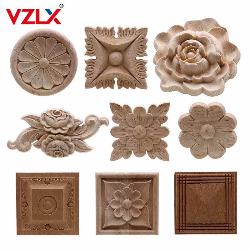 VZLX Flower Wood Carving Natural Wood Appliques For Furniture Cabinet Unpainted Wooden Mouldings Decal Decorative Figurines