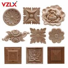 Vzlx apliques de madeira natural, flor de madeira natural para móveis, armário, moldes de madeira, decoração decalque