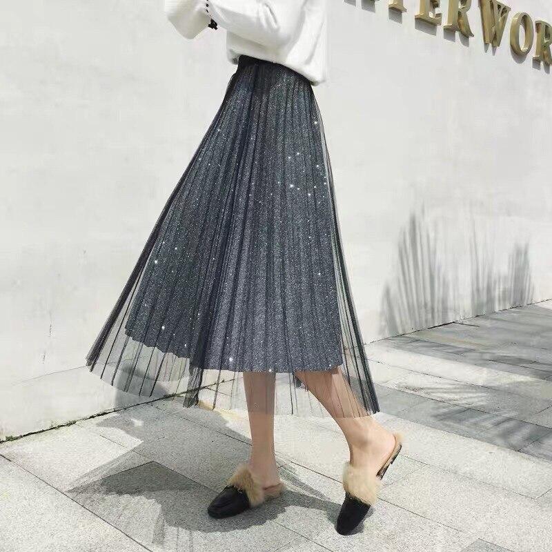 1 Malla Plisado 2019 Black Primavera Falda Mujeres La Moda 3 De Nueva Color Ropa Tamaños Las FqRHw0qA