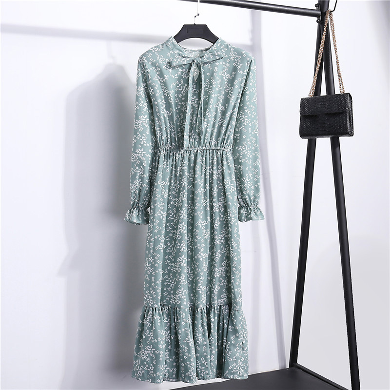 Summer Korean Chiffon Women Dress Elegant Ladies Vintage Long Dress Boho Floral Office Long Sleeve Vestidos Clothing 5LYQ003 54